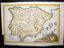 Ancient Spain C1750 Hand Col Antique Map